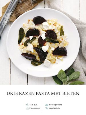 Three cheese and beetroot pasta