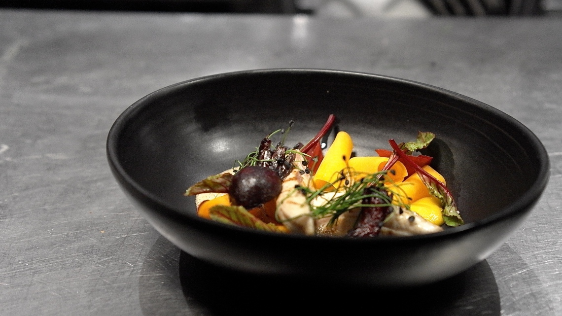 Grilled fish and beetroot