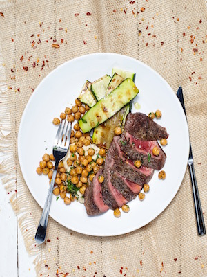 Steak with chickpeas